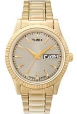 Timex retrò placcato oro lunetta scanalata Day Date Gold Tone Retrò Uomo Watch T2M557