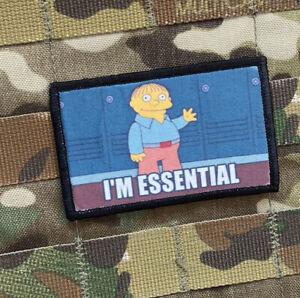 Ralph Wiggum I'm Essential Simpsons Meme Tactical Morale Patch Hook & Loop