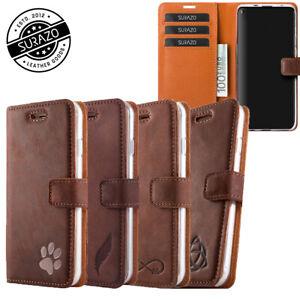 SURAZO® Premium Echtes Ledertasche Schutzhülle Wallet Case Etui Cover mit Motiv