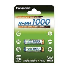 2x AKKUS AAA PANASONIC max. 1000 mAh AKKU Wiederaufladbar LR03 - MICRO - LR3