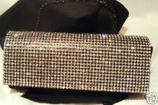 BLACK Evening Clutch Bag with chain SATIN  & CRYSTAL **NEW**