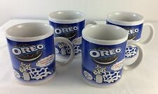 Set of 4 OREO Cookies Kraft Foods Blue Spotted Cow Mugs Cups
