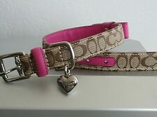 COACH SIGNATURE KHAKI AND HOT PINK SILVER HEART CHARM WITH BOW DOG COLLAR MEDIUM