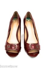 ETIENNE AIGNER Dune Red Patent Vegan  Open-Toe Heels Shoes 8 M  Buckles EUC