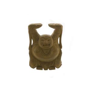Statuetta Budda Cinese che Ride Fortuna IN Legno Promo S10/7B