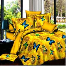 Yellow Butterfly Queen Size Bed Quilt/Doona/Duvet Cover Set New Pillow Cases
