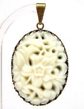 SoHo® Ketten Anhänger antik original bohemia Glas 1960´s oval weiß Floral opak