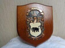 More details for vintage  named  sutcliffe crest shield wood wall hanging plaque foy en tout mott