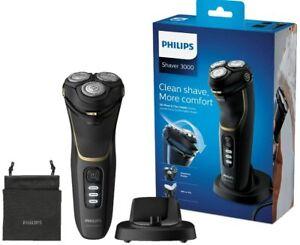 Philips Rasoio Elettrico S3333/54 Serie 3000 Base di Ricarica Wet & Dry Nero/Oro