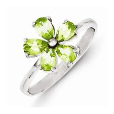 STERLING SILVER 1CT GENUINE NATURAL PERIDOT FLOWER CLUSTER RING BAND - SIZE 8