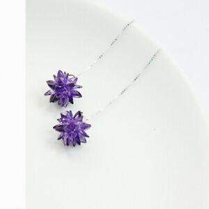 New Arrival Fashion Silver Long Purple Flower Drop Dangle Earrings Jewelry Gifts