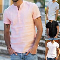 Men Linen Short Sleeves Shirts Slim Fit Formal Casual Dress T-Shirt Top Luxury