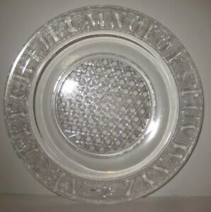 Old Vintage Childrens Clear Glass ABC Plate w/ Beehive Criss Cross Bottom Design