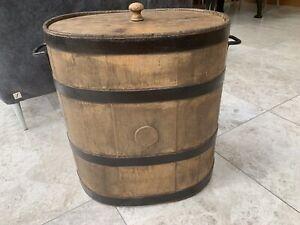 Antique Wooden Grain Store Chest Trunk