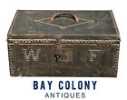 19TH C ANTIQUE BOSTON NATHAN NEAT LEATHER TRUNK / STAGECOACH BOX ~ INITIALS WF