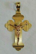 14K Yellow Gold Crucifix Jesus on a Cross Large Pendant