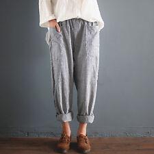 UK Womens Elastic High Waist Baggy Cotton Linen Harem Pants Trousers Plus Size