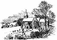 Unmounted rubber stamp Winter Church Scene - 7058