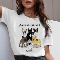 Women T Shirt Top Female Funny Cute Pug French Bulldog German Shepherd Pit Bull