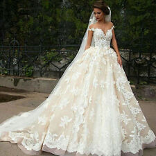 Luxury White /Ivory Wedding Dresses Appliques Bridal Gowns Custom Made Size 2-16