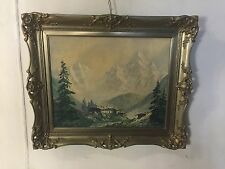 Painting Oil&Canvas Signed Fishcher Alpine Peak&House.C12pix4Size/etc.MAKE OFFER