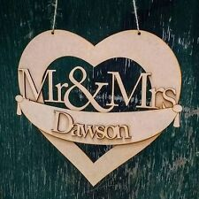 Mr and Mrs Banner Sign - Wooden Wedding Laser Cut mdf Craft Blanks and Shapes