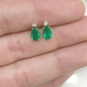 14K Yellow Gold Over 2.10 Ct Pear-Cut Emerald Diamond Solitaire Stud Earrings