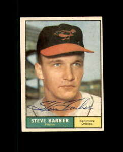 Steve Barber Hand Signed 1961 Topps Baltimore Orioles Autograph