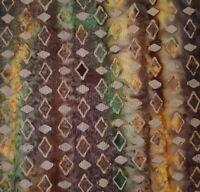 French Roast Batik BTY Princess Mirah Bali Fabrics Green Plum Yellow Diamond