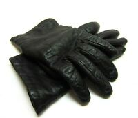 Vintage Women's Portolano Italian Black Leather Lined Driving Gloves 6.5