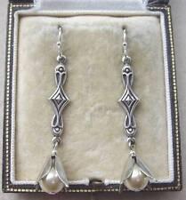 Elegant Handmade Vintage Cream Glass Faux Pearl Drop Earrings