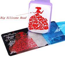 Nail Art BIG Rectengular Nail Stamp + 2 Scraper Silicone Stamper Stamping Plate
