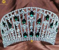 Princess Tiara Headband Green Rhinestone Crown Wedding Bridal Pageant Party Prom