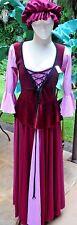 Luscious Pink/Burgundy Medieval Renaissance Pub Wench Costume w/Cap 3X