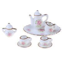 8Pcs 1/12 Dollhouse Miniature Dining Ware Porcelain Tea Set Dish  mi