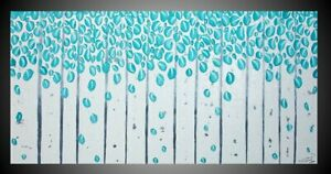 Moderne Bilder auf Leinwand Acrylbilder Abstrakt Kunst Malerei Gemälde Birken xl
