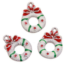 20pcs Plated Rhodium Enamel Christmas Decoration Charms Alloy Pendant Findings L