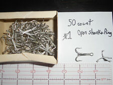 MUSTAD size 1 TREBLE HOOK 3564 T OPEN RING AND SHANK TINNED 50 count EASY SWITCH