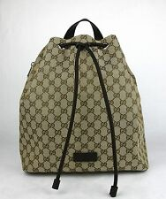 New Gucci Beige/Brown GG Canvas Pull String Draw-String Back Pack 449175 9790