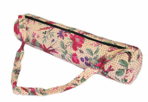 Beige Yoga Bags Kantha Stitches Yoga Mat Carrier Cotton Bags with Shoulder Strap