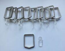 10 Gardinengringe mit Gleiteinlage mit Haken für 20 x 20 mm Vierkant chrom matt