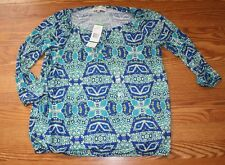 NWT Womens Jones New York Blue Green Teal Lime White Peasant Shirt Size L Large