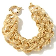 14K Yellow Gold Clad Silver 925 Technibond Bold Braided Wheat Oval Link Bracelet