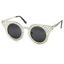 sunglassLA Womens Fashion Metal Laser Cut Criss Crossed Cat Eye Sunglasses