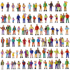 100pcs Model Trains HO Scale 1:87 Painted Figures 19 Poses Standing People