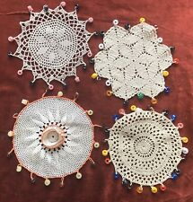 4 Vintage Beaded Jug Covers Lace Cream Tea Cup Doiley Filet Crochet Hand Made