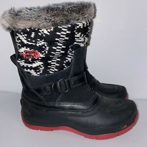 The North Face Shellista Black White Boots Faux Fur Insulated Women Size 6