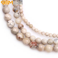 Natural Round Cream White African Opal Stone DIY Beads For Jewelry Making 15''