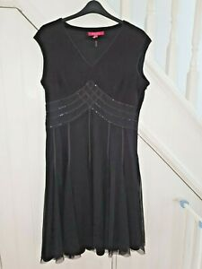 JACQUES VERT SIZE 18 - SLEEVELESS BLACK DRESS WITH SEQUINS