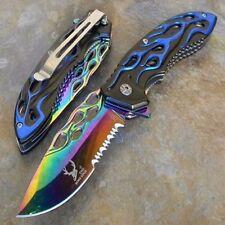 THE BONE EDGE TITANIUM BLADE SPRING ASSISTED POCKET KNIFE - BLUE [7520]